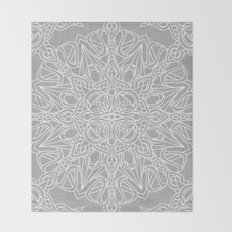 White Mandala on Grey Linen Throw Blanket
