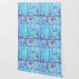 Van Gogh Trees & Underwood Aqua Lavender Wallpaper