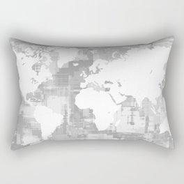 Design 71 Grayscale World Map Rectangular Pillow