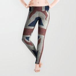 UK Flag, Dark grunge 1:2 scale Leggings