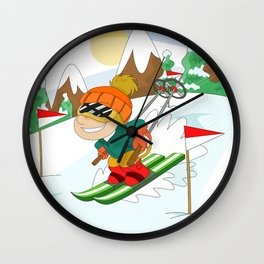 Winter Sports: Skiing Wall Clock