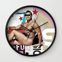 muscle Wall Clocks featuring anonymous muscle by Robert Alan