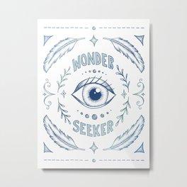 Wonder Seeker - Blue Metal Print