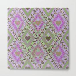 Diamonds and hearts seamless pattern Metal Print