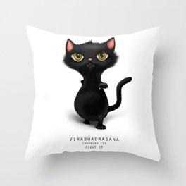 yoga cat warrior 2 Throw Pillow
