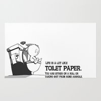 toilet Area & Throw Rugs featuring Life is a lot like toilet paper... by Keith Nakamura