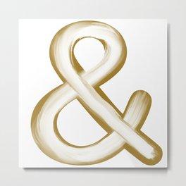 Ampersand Gold/White Stroke Metal Print