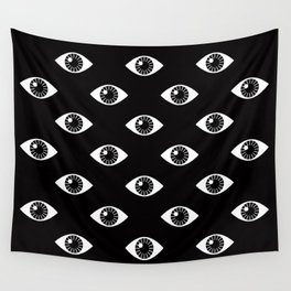 EYES WIDE OPEN ON BLACK Wall Tapestry