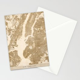 Vintage map of New York in sepia Stationery Cards