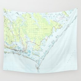 Cape Lookout National Seashore & Morehead City Map Wall Tapestry