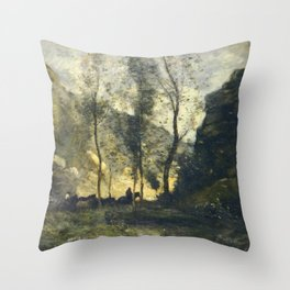 Jean-Baptiste-Camille Corot - The Smugglers Throw Pillow