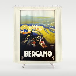 1920s Bergamo Italy travel Shower Curtain