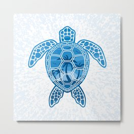 Tropical Island Sea Turtle Design in Blue Metal Print