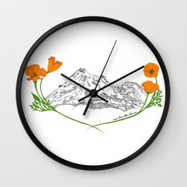 Shasta Poppies - Pop of Color Wall Clock