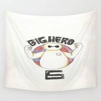 big hero 6 Wall Tapestries featuring Big Hero 6 by kayla.koss