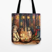 helen green Tote Bags featuring Camp Meeting By Helen Green by Bear Picnic