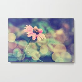 Romance. Golden dust pink daisy with bokeh. Metal Print