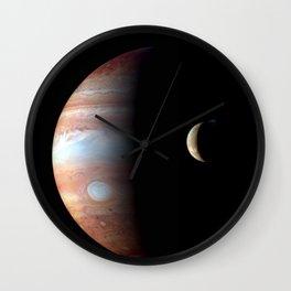 Jupiter and its Volcanic moon Io Deep Space Photograph Wall Clock