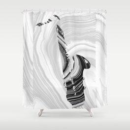 Marbled Music Art - Saxophone - Sharon Cummings Shower Curtain