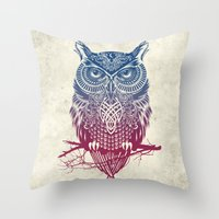 dragon ball z Throw Pillows featuring Evening Warrior Owl by Rachel Caldwell