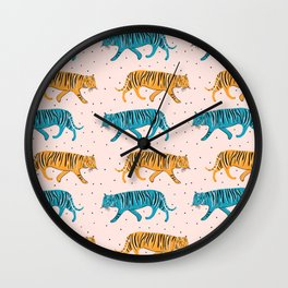 Pop Tigers on blush Wall Clock