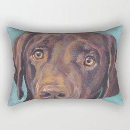 Chocolate lab LABRADOR RETRIEVER dog portrait painting by L.A.Shepard fine art Rectangular Pillow
