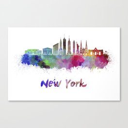New York V3 skyline in watercolor Canvas Print