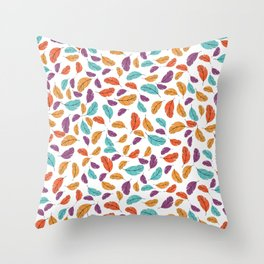 Graphic illustration of stylized and colorful birds Throw Pillow