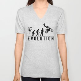 The Evolution Of Man And Dirtbike Stunt Riding Unisex V-Neck