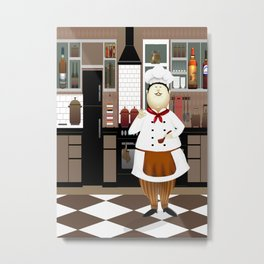 Funny Chef in a Big Hat in the Kitchen Metal Print
