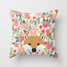 Shiba Inu floral dog face cute peeking shiba inus gifts Throw Pillow
