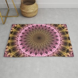 Golden and pink mandala Rug