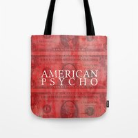american psycho Tote Bags featuring American Psycho by Robert Payton