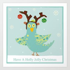 Holly Jolly Christmas Birdie Art Print