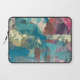 Sugar Rush [2]: a colorful, abstract mixed media piece in pinks, blues, and gold Laptop Sleeve
