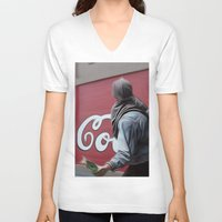 coca cola V-neck T-shirts featuring Coca Cola Wars by Vin Zzep