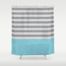 Blue and gray stripes and color block Shower Curtain