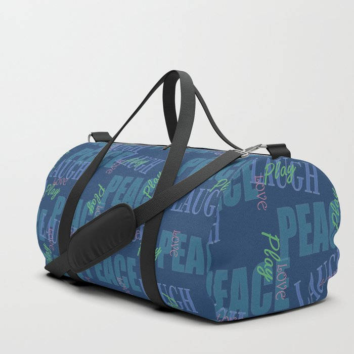 Peace Love Play Laugh Graphic, blue Duffle Bag