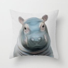hippo, be fat like a hippo, self respect for children Throw Pillow
