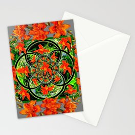 ORANGE DAYLILIES GREEN GARDEN GREY GEOMETRIC Stationery Cards