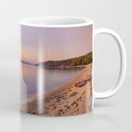 The sunset at the beach Agia Eleni of Skiathos island, Greece Coffee Mug