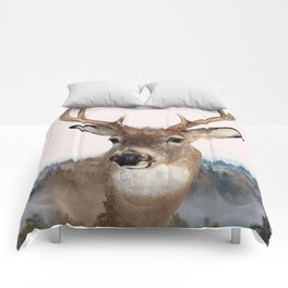 Whitetail Deer Double Exposure Comforters