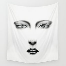 Untitled - charcoal drawing - pretty girl, minimal, face, female, beauty, sexy, lips, eyes Wall Tapestry