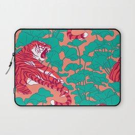 Scarlet tigers on lotus flower field. Laptop Sleeve