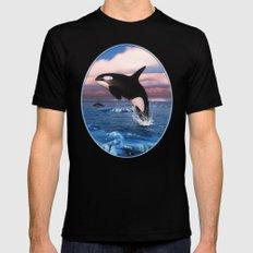 Killer whales in the Arctic Ocean Black MEDIUM Mens Fitted Tee