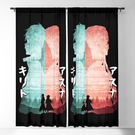 Minimalist Silhouette Kirito & Asuna Blackout Curtain