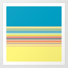 Bright Yellow Blue summer Stripes Art Print