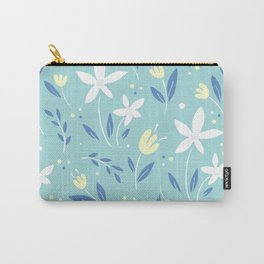 sea kiss floral blue summer flowers pattern Carry-All Pouch