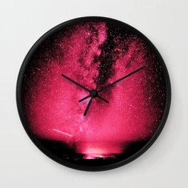 Desert Night Sky Magenta Pink Wall Clock