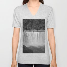 Cumberland Falls in Black and White Unisex V-Neck